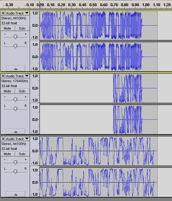 View of the Handshake, microphone static at four times the speed, and the microphone static normally. Note the higher frequency near the end of the microphone static.